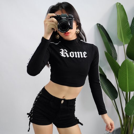 Ladies long sleeve Crop Top  sweatshirt