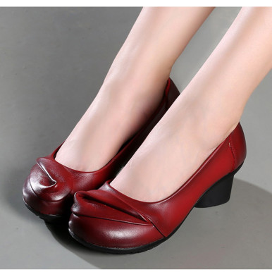 OneBling Genuine Leather Women Med Heel Shoes Spring Autumn Fashion Comfortable Thick Heel Shoes Shallow Soft Female Pumps