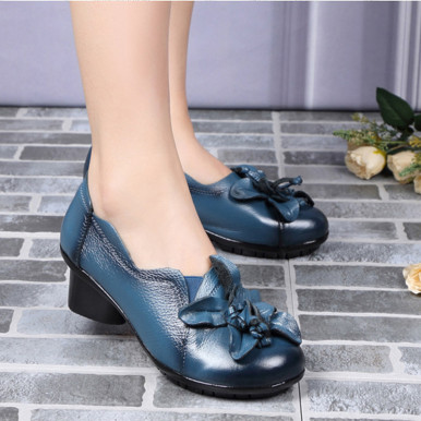 OneBling Genuine Leather Women High Heel Shoes Spring Autumn Fashion Flower Soft Slip-on Leather Shoes Round Toe Pumps