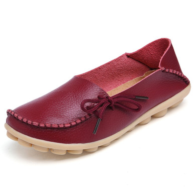 OneBling Plus Size Genuine Leather Women Shoes Spring  Fashion Soft Lace-up Casual Flat Shoes Peas Non-Slip Outdoor Shoes