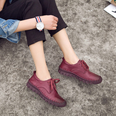 OneBling Spring Autumn Fashion Soft Comfortable Flat Shoes Genuine Leather Lace Up Hand Sewing Shoes Women Casual Shoes