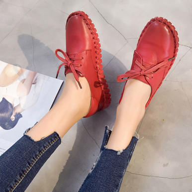 OneBling Genuine Leather Sewing Shoes Casual Lace Up Women Flats Outdoor Casual Flat Shoes Soft Breathable Leather Shoes