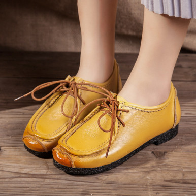 OneBling Women Genuine Leather Shoes Spring Autumn Fashion Breathable Soft Lace-up Casual Women Flat Shoes