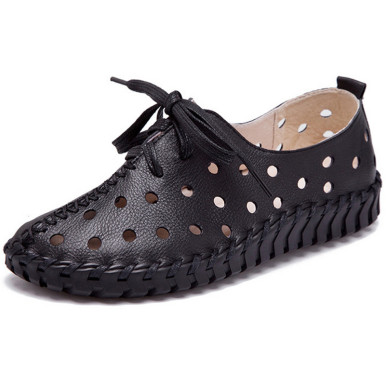 OneBling Genuine Leather Hollow Out Breathable Flat Shoes Spring Autumn Fashion Lace-Up Sewing Shoes Women Casual Sandals