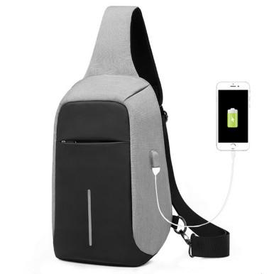OneBling Anti-theft Hidden Zipper Chest Bag Waterproof Sling Bag External USB Port Laptop Bag Outdoor Riding Travel Bag