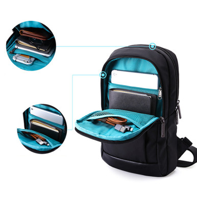 OneBling Water Resistant Sling Bag Cool Black Men Chest Bag Outdoor Sport Hiking Bicycle Backpack Travel Bag