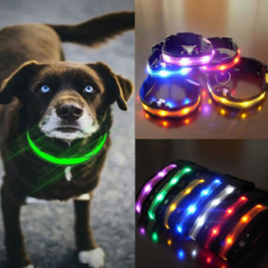 OneBling Pet Glow LED Collar Flashing Light Nylon Night Safety Collars Supplies