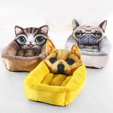 OneBling Cute Cartoon Pattern 3D Printing  Rectangular Warm Short Plush Mattress Pet Cat Nest