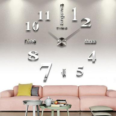 Frameless Adjustable DIY Wall Clock 3D Mirror Wall Clock Mute Sticker for Living Room Bedroom Decorations