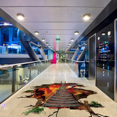 Flame Mountain Lron Bridge 3D Three-Dimensional Floor Stickers Removable