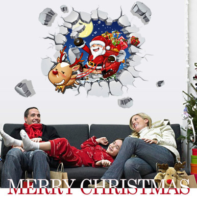 3D Broken Wall Window Stickers Removable Self-Adhesive Wall Stickers Santa Claus Pattern