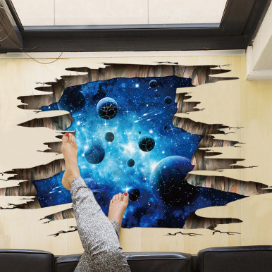 Deep Blue Planet Galaxy Stereoscopic 3D Floor Stickers Removable Self-Adhesive Wall Stickers