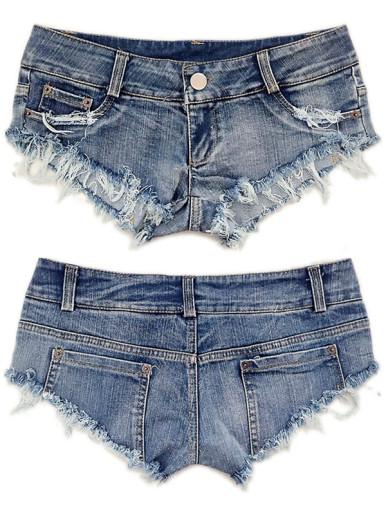 OneBling Denim Mini Shorts Jeans Triangle Low Waist Skinny Short Clubwear Women