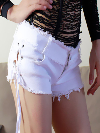 OneBling Sexy Mini Women Straight Shorts Pocket Jeans Burr Side Cross Strap Shorts