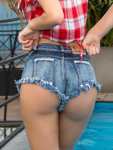 OneBling Summer Women Mini Denim Shorts Jeans Tassel Low Rise Waist Shorts Sexy Clubwear