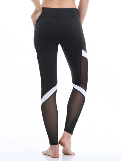 OneBling Women Fitness Long Leggings Stretch High Waist Trousers Patchwork Mesh