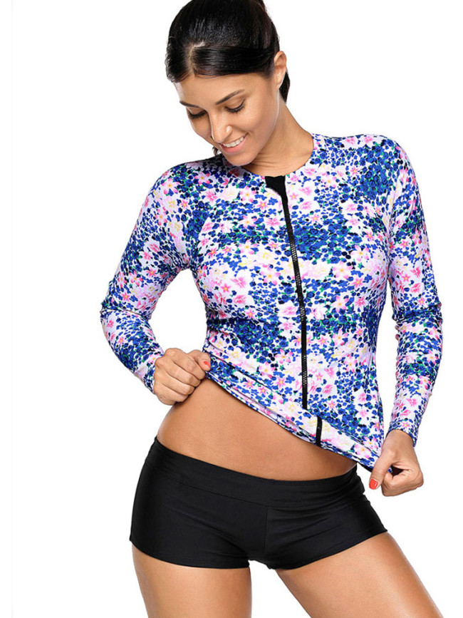 OneBling Zipper Up Front Long Sleeve Printed Swimwear Tops