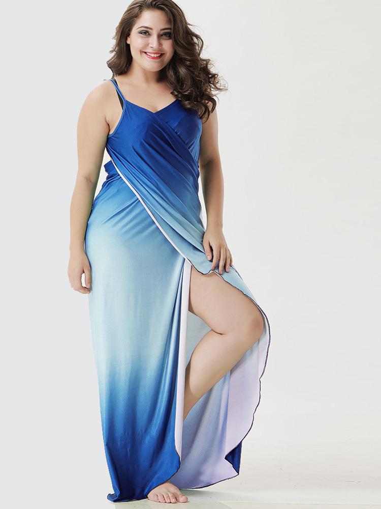 Us 28 Plus Size Ombre Cami Wrap Dress Multipurpose Onebling