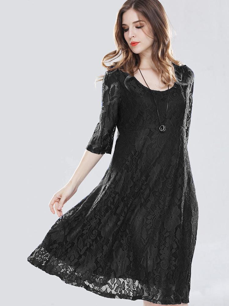 Us 44 Plus Size Zip Back Crochet Lace Dress Onebling