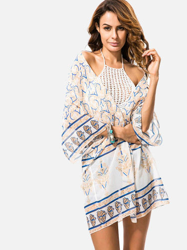 OneBling Bohemian Floral Print Cover Up Women Beach Kimono