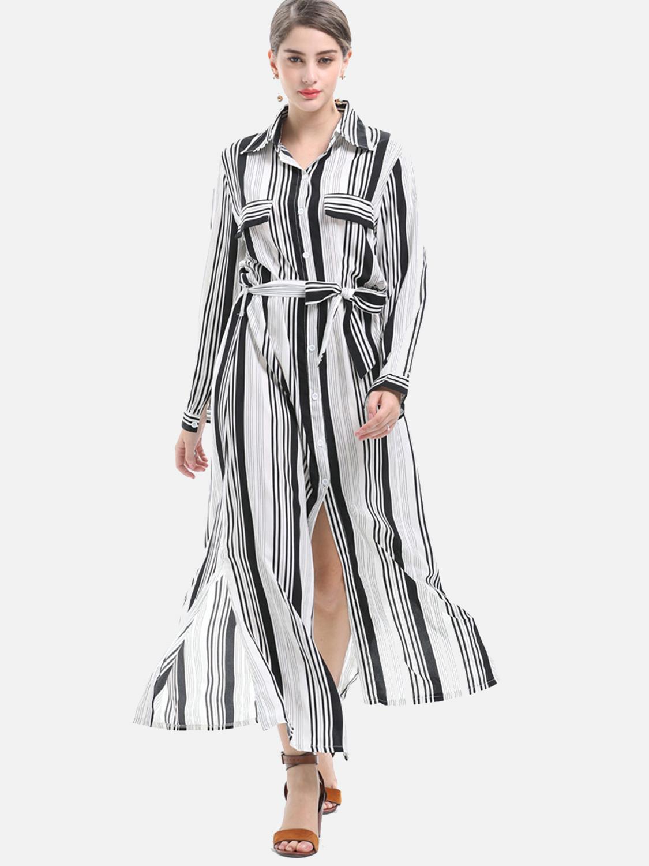 e6fc2d29 OneBling Women Turn-down Collar long Sleeve Loose Stripe Plus Long Shirts. Loading  zoom