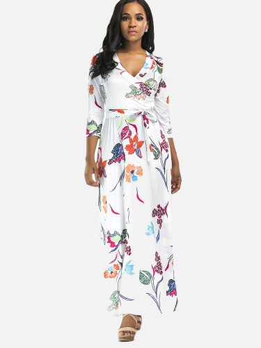 OneBling Plus Size Sexy V-Neck High Waist Floral Printed Women Floor Length Dress with Belts