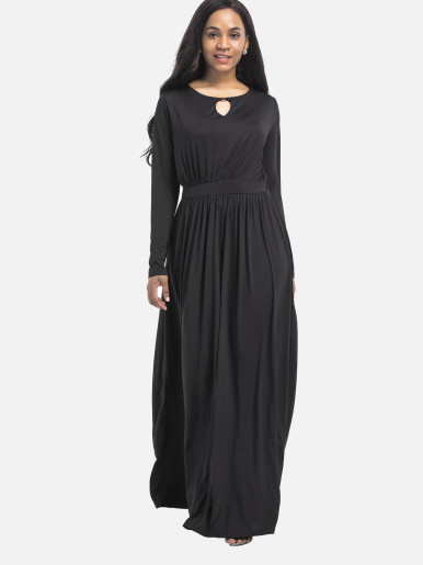 OneBling Plus Size Long Sleeve Elastic High Waist Women Floor Length Dress Tunic Dress