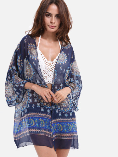 OneBling Kimono Cardigan Women's Three Quarter Sleeve Chiffon Blouse Beach Tunic