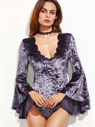 OneBling Fluted Sleeve Scallop Trim Velvet Bodysuit with Burn Out