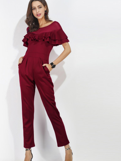 OneBling V-Back Mesh Contrast Double Layer Ruffles Straight Jumpsuit