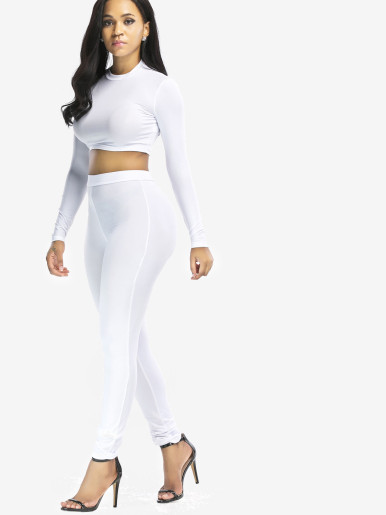 OneBling Two Piece Outfits Long Sleeve Crop Tops and Skinny Pants
