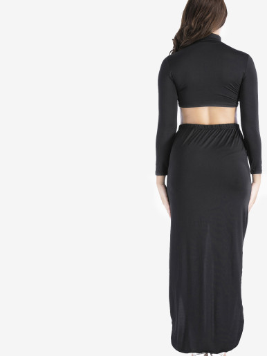 OneBling Plus Size Mock Neck Crop Tops and Asymmetric Maxi Skirts