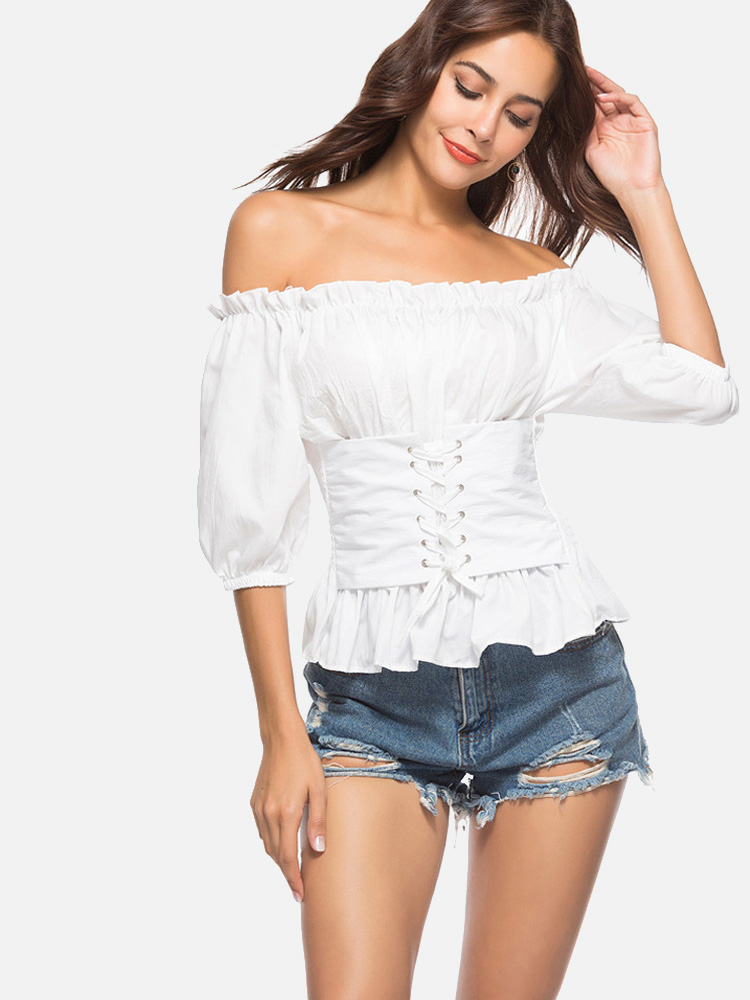 19e21d29c70 Eyelet Lace-Up Front Ballon Sleeve Shirred Detail Off Shoulder Tops Item  NO: C89851