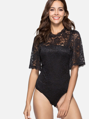 OneBling Keyhole Back Jacquard Lace Bodysuit with Scallop Edge