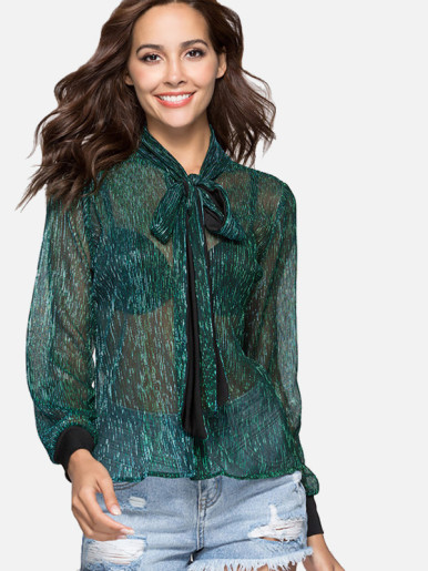 OneBling Tie-Neck Contrast Cuff Sheer Glitter Blouses