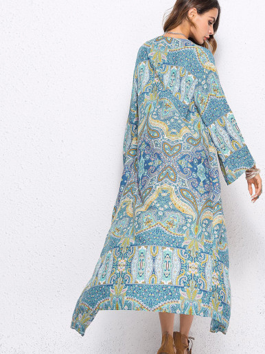 OneBling Long Sleeve Printed Beach Kimono Cover Up