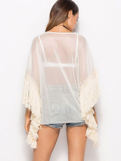 OneBling Tassels Trim Batwing Sleeve Kimono Beach Tops with Sheer Fabric