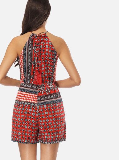 OneBling Keyhole Back Tassels Tie Halter Playsuits with Tribal Print