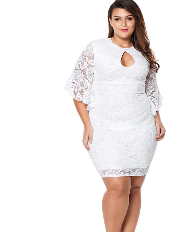 Us 52 Plus Size Exaggerated Sleeves Floral Lace Bodycon Midi