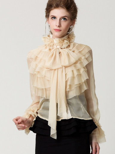 OneBling 3D Flower High Neck Ruffles Layered Fluted Sleeve Sheer Blouses with Bow Tie