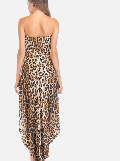 OneBling Skinny Leopard Bandeau Playsuit with Maxi Skirt Layer