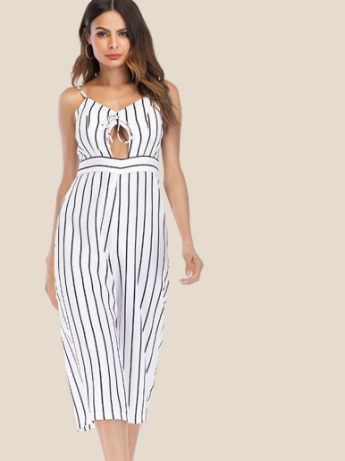 OneBling Cutout Tie Front Cami Cropped Wide Leg Jumpsuit In Striped
