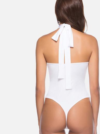 OneBling Turtleneck Open Back Zip Detail Bodysuit