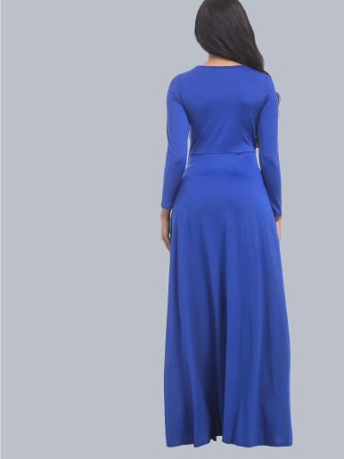 OneBling Elegant High Waist Long Sleeve Folds Women Floor Length Dress Plus Size