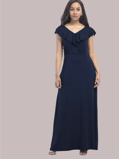 OneBling Sexy Backless Ruffles V-Neck Elastic High Waist Women Floor Length Dress