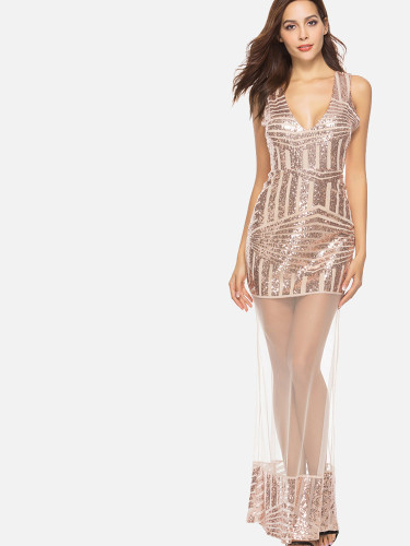 OneBling Sheer Mesh Insert Sequins Embellished Maxi Dress with Open Back