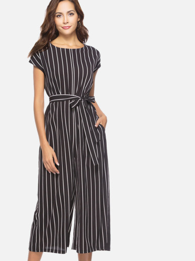 OneBling Cap Sleeve Pocket Detail Striped Wide Leg Cropped Jumpsuit with Belt