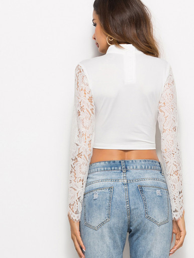 OneBling Choker Neck Lace Sleeve Sweetheart Crop Tops