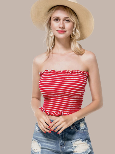 OneBling Frill Trim Shirred Bandeau Top In Striped