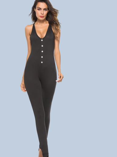 OneBling Button Front Cross Back Plunge Neck Skinny Jumpsuit